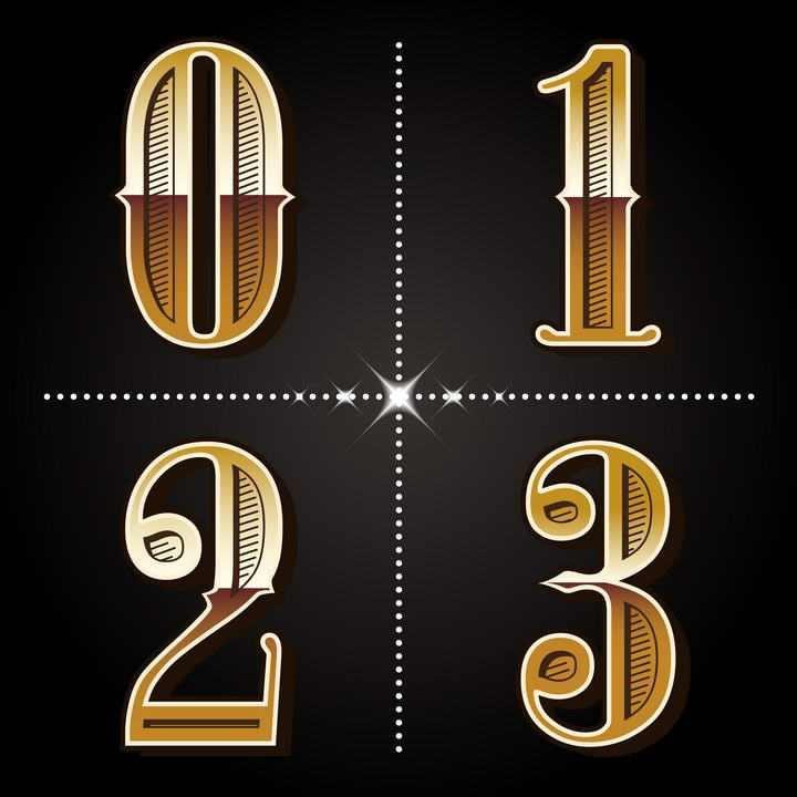 金色镂空风格数字0123字体图片免扣素材