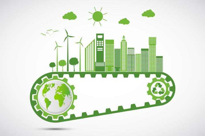 绿色齿轮带上的地球和城市绿色环保主题图片免抠素材