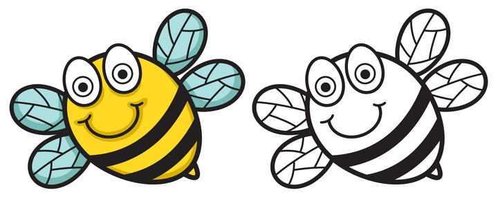 卡通黑色和上色的蜜蜂对比图免抠矢量图片素材