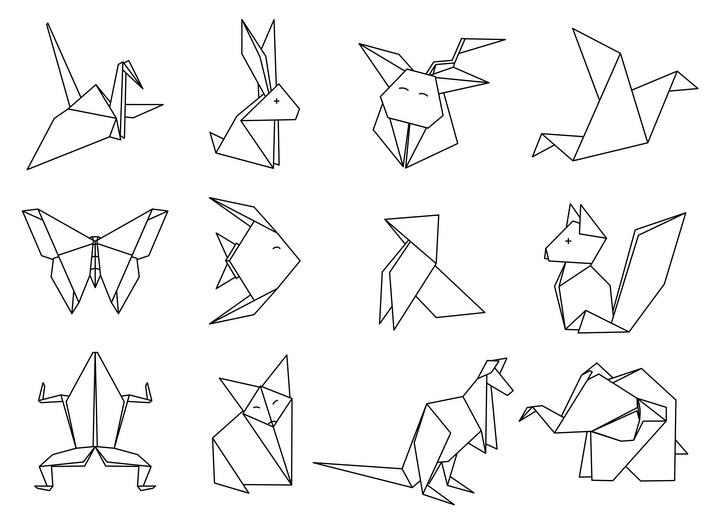 简约线条折纸风格小动物千纸鹤免抠矢量图片素材