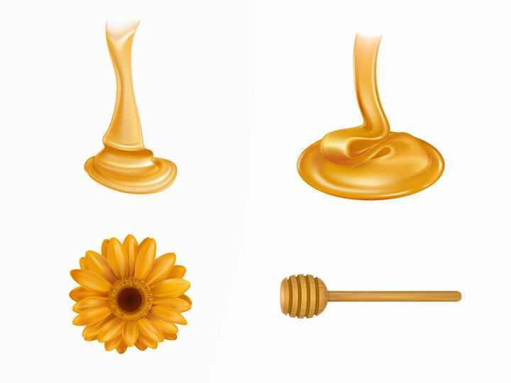 粘稠的蜂蜜和花朵蜂蜜棒免抠矢量图片素材
