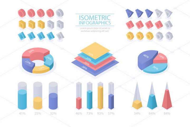 糖果色立体风格数据饼形图柱形图图表图片免抠素材