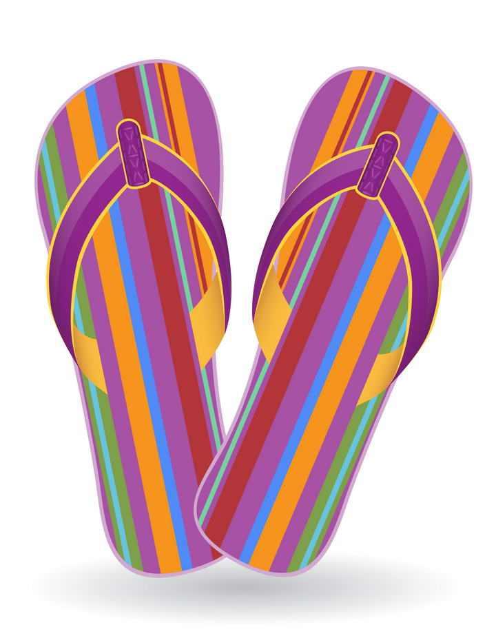 彩色条纹色的塑料拖鞋凉鞋沙滩鞋图片免抠素材