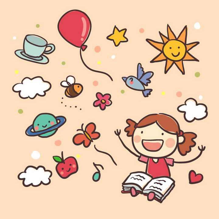 手绘插画风格卡通看书的女孩和涂鸦气球太阳等免抠矢量图片素材