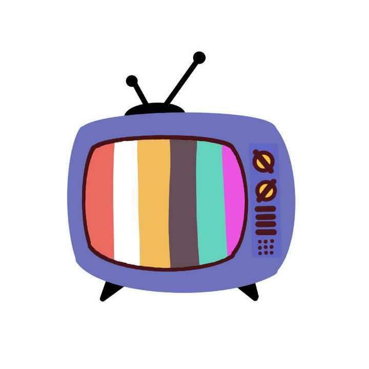 手绘卡通风格彩带显示电视机图片免抠素材