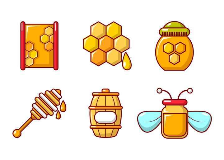 6款卡通风格蜂蜜蜂巢蜜免抠矢量图片素材