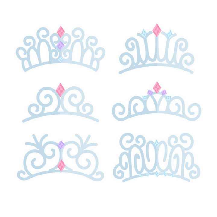 6款淡蓝色风格皇冠头饰头箍图案免抠矢量图片素材