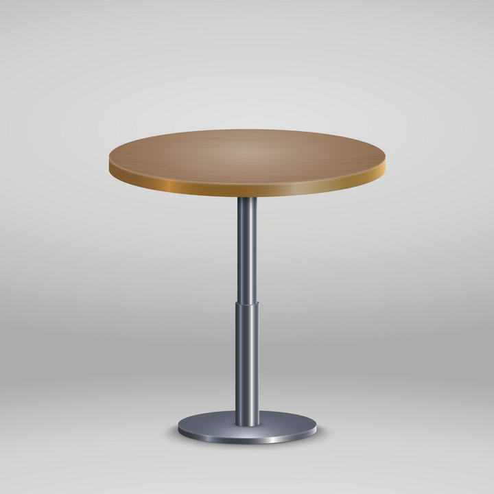 金属银色底座和木质桌面的圆桌桌子免抠矢量图片素材