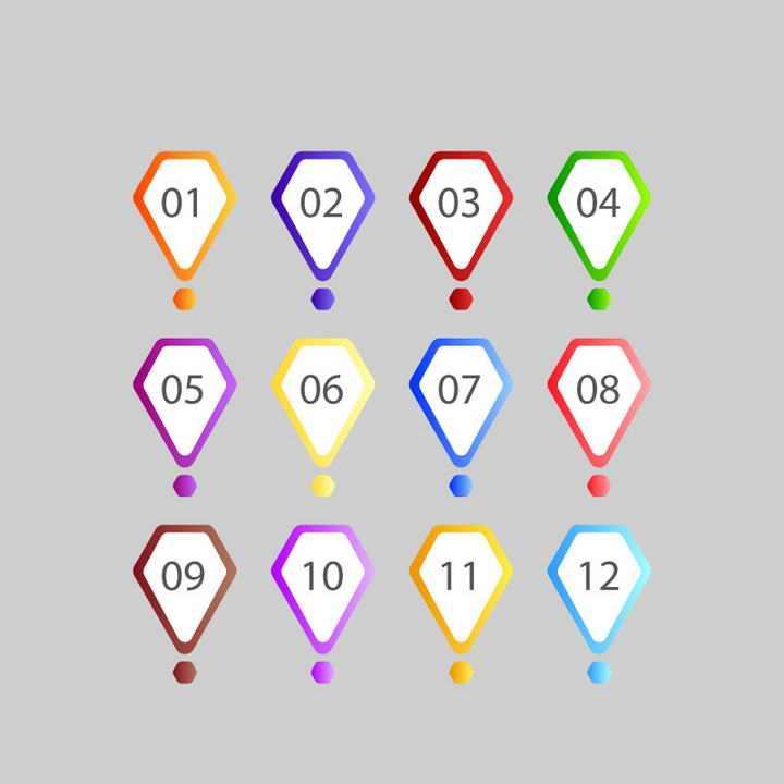 五边形渐变色风格数字序号标签图案免抠矢量图片素材