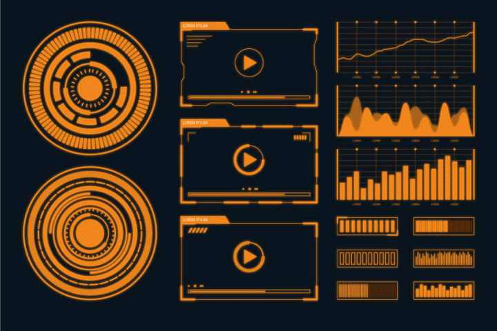 橙色未来科技风格发光圆环图表图片免抠素材