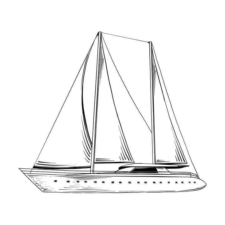 手绘简笔画风格风帆游艇帆船图片免扣素材