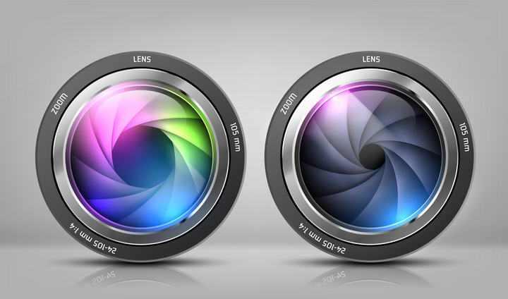 两款彩色照相机镜头图片免抠素材
