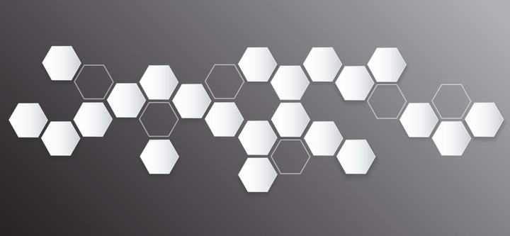 白色风格的六边形蜂巢结构装饰图案免抠矢量图片素材