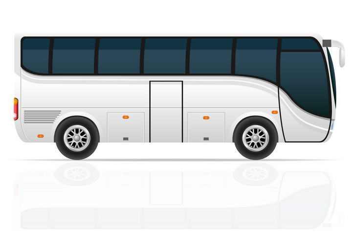 银色长途巴士长途客车侧视图图片免抠素材