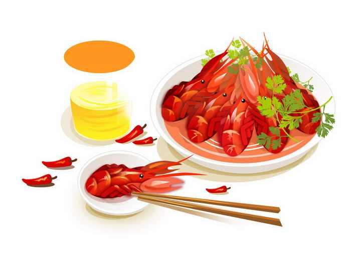 手绘风格一盘麻辣小龙虾美味河鲜美食图片免抠素材