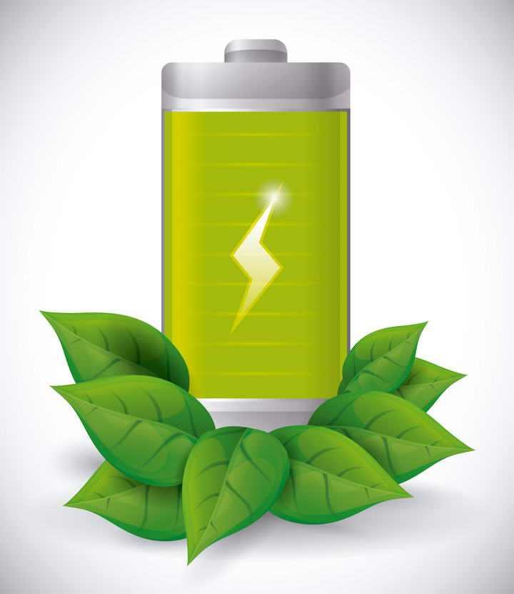 绿色树叶装饰的环保电池图标免抠矢量图片素材