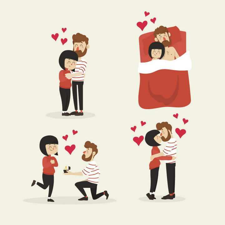 四款爱情拥抱在一起的情人求婚的情侣图片免抠素材