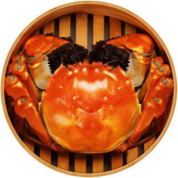 俯视视角的一笼清蒸大闸蟹美味螃蟹美食河鲜图片免抠素材