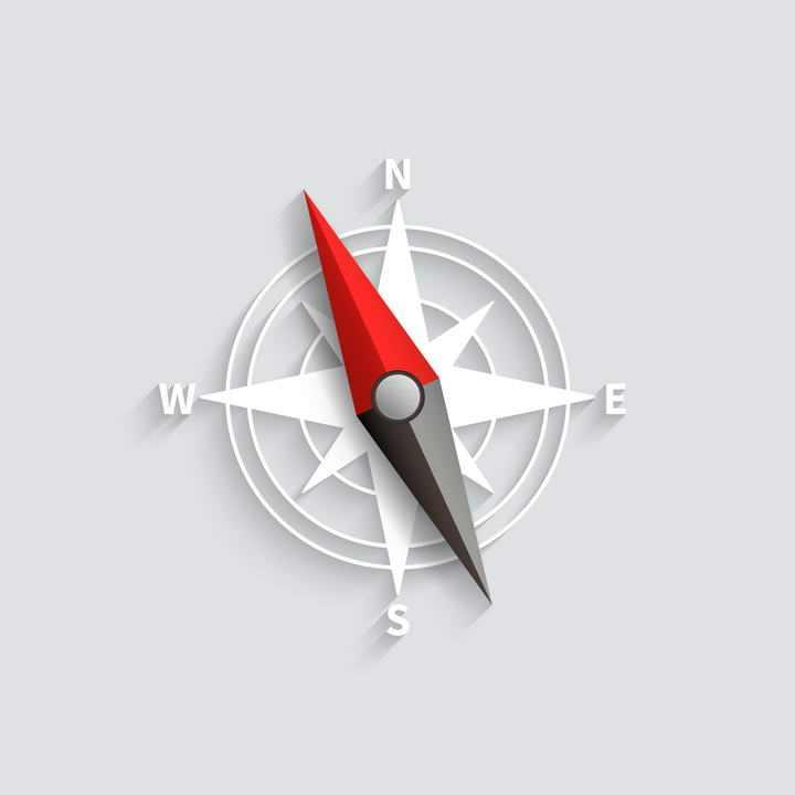 黑白加红黑色的指南针图案免抠矢量图片素材