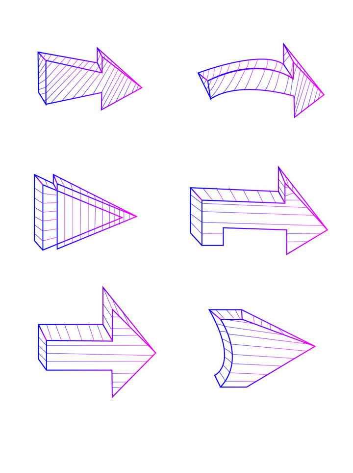 6款紫色线条立体箭头图案图片免抠素材