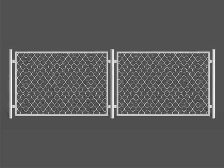 银白色的铁栅栏铁丝网图片免抠素材