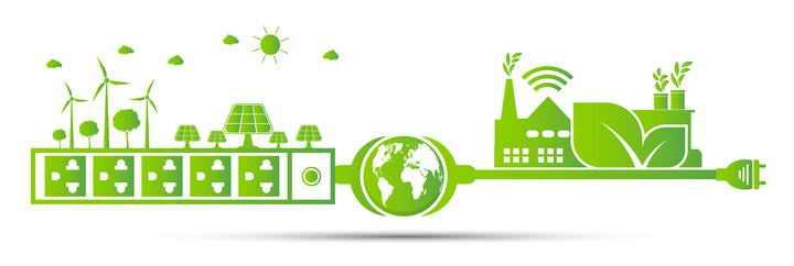 绿色清洁能源插座绿色地球环保发电厂图片免抠素材