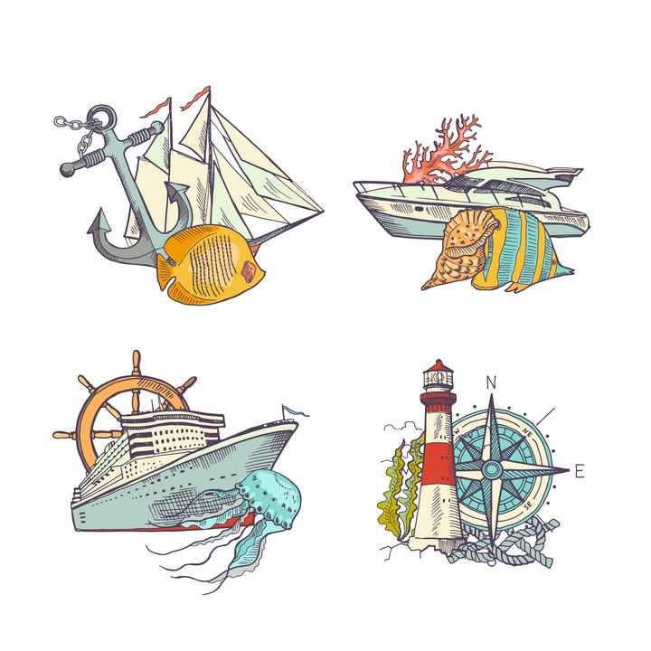 4款手绘风格海洋主题图片免抠素材