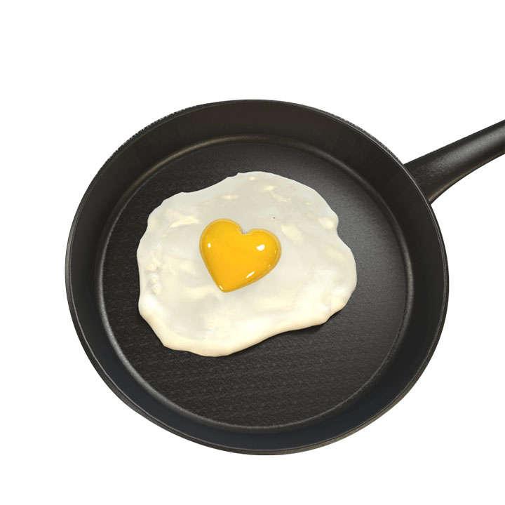 心形煎蛋和平底锅图片免抠素材