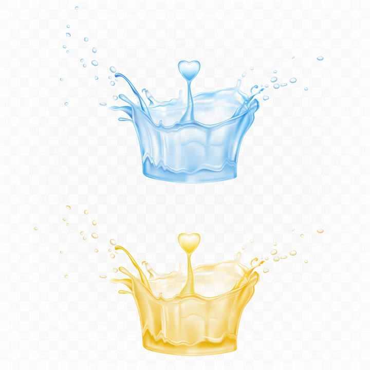 两款溅起的蓝色和黄色心形水花图片免抠素材