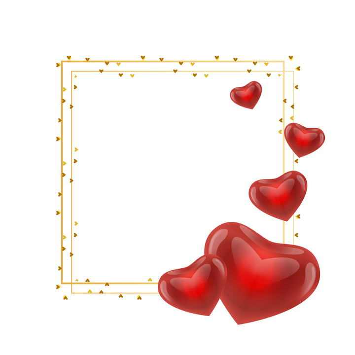 金色正方形线条和水晶风格的红心文本框图片免扣素材