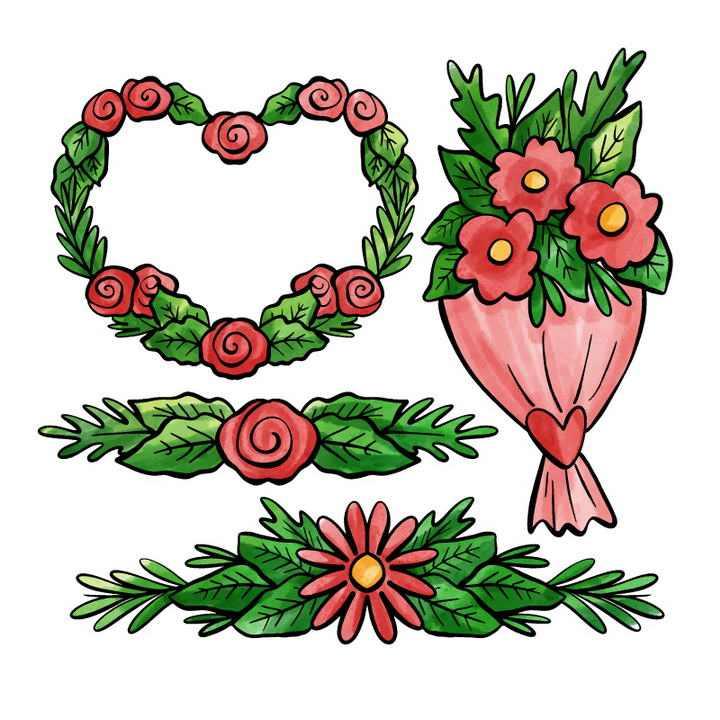 手绘风格的鲜花花环装饰图片免抠素材