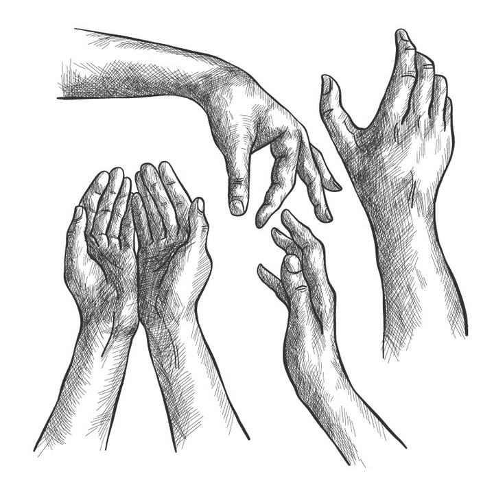 四种手绘铅笔素描风格手部动作手势免扣图片素材