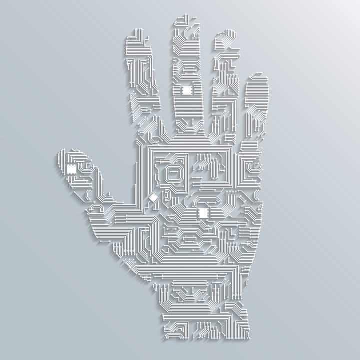 创意电路板线条组成的手掌图案免扣图片素材