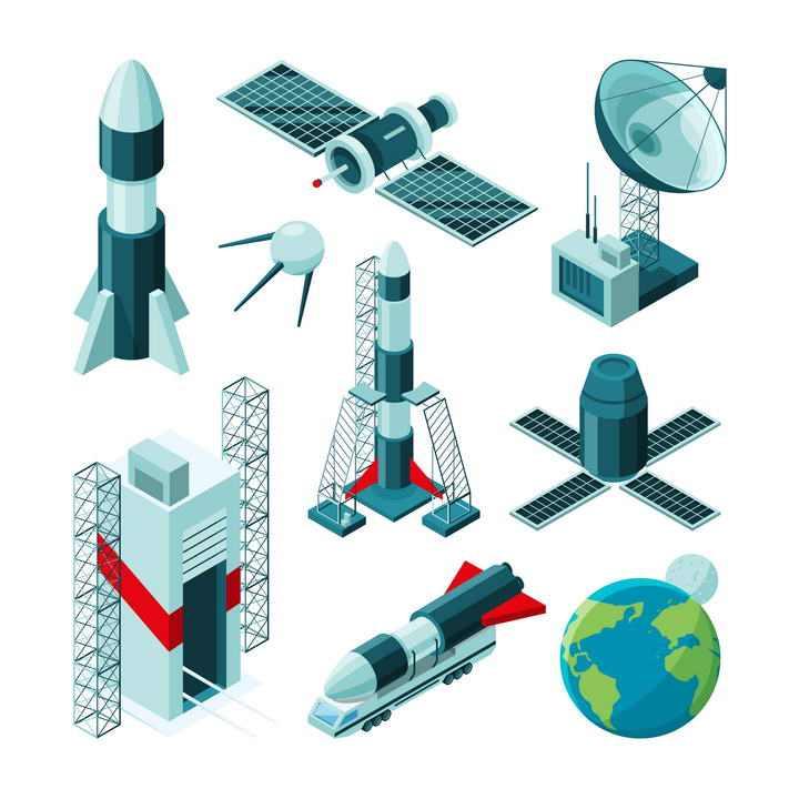 9款航天器火箭发射塔卫星接收站免扣图片素材