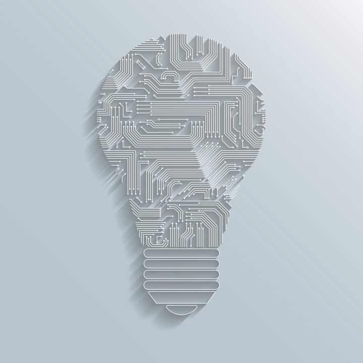 创意电路板线条组成的灯泡图案免扣图片素材