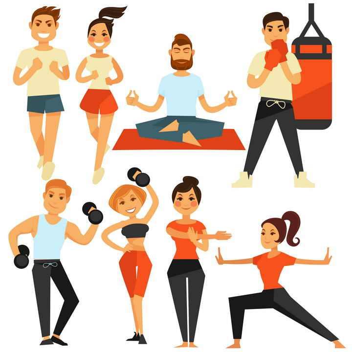 卡通风格正在减肥健身的年轻人免扣图片素材