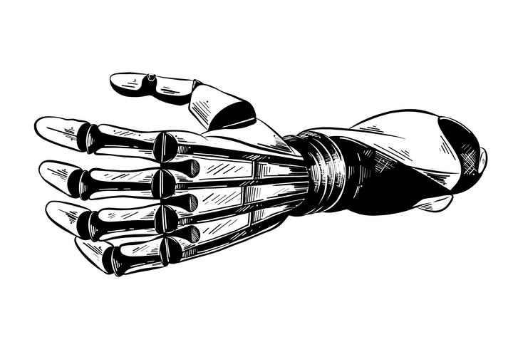 黑色素描风格机器手臂机器人免扣图片素材