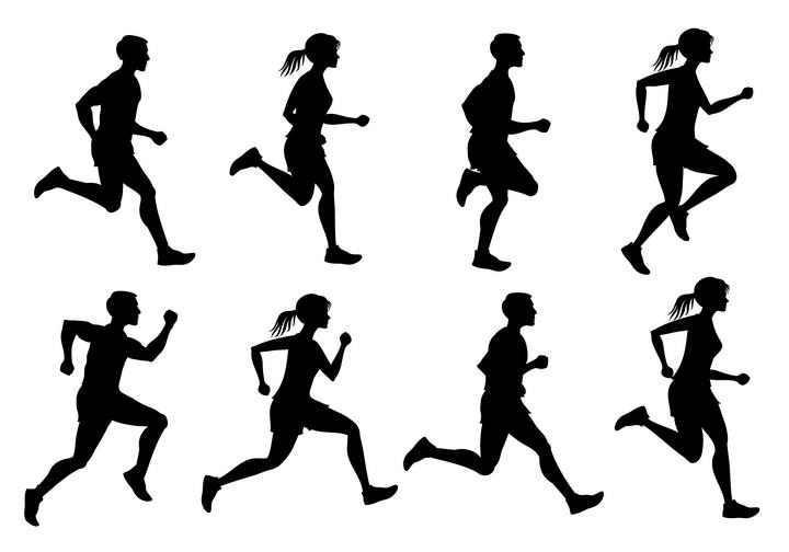 正在连续奔跑的女人剪影免扣图片素材