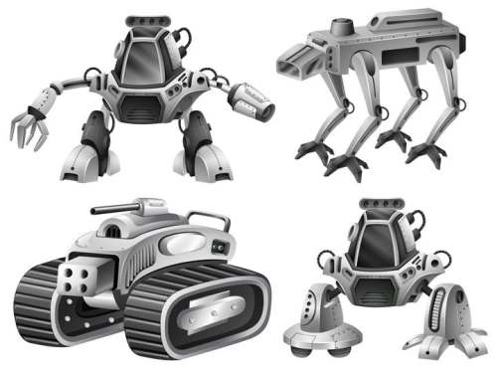 卡通风格金属银色的四款机器人免扣图片素材