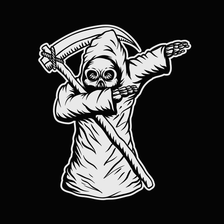 手绘黑白色死神简笔画图片免抠素材