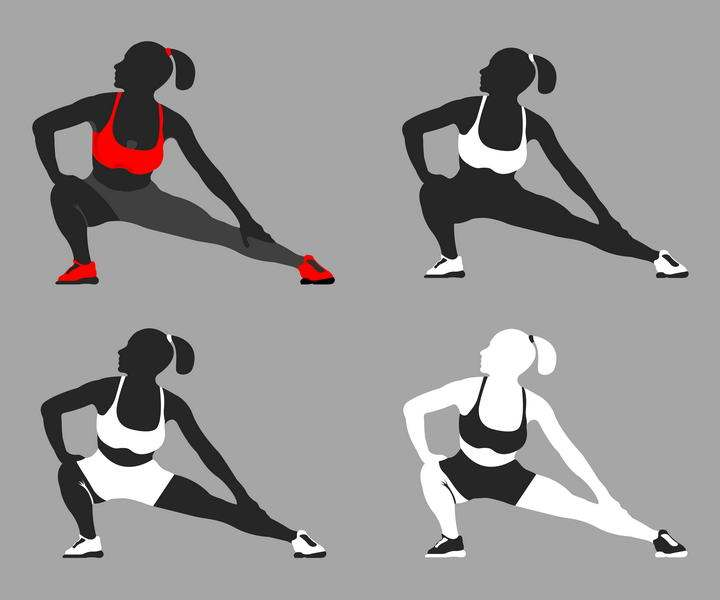 4款黑白红色风格正在做拉伸动作的健身女孩图片免抠素材