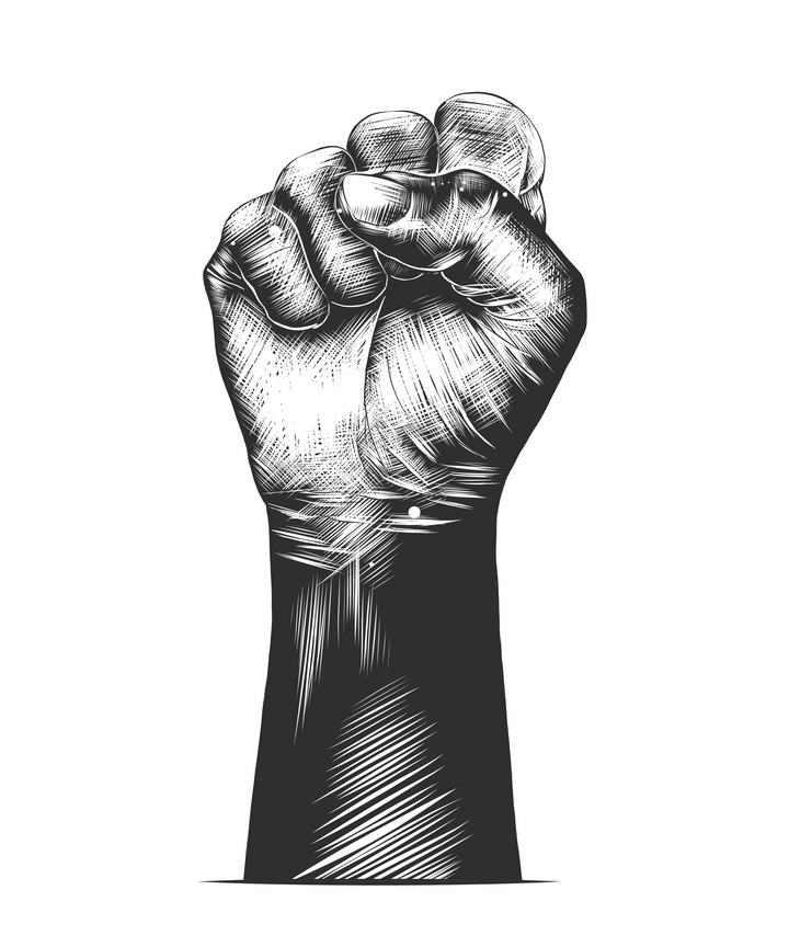 黑色素描风格握紧的拳头力量的象征免扣图片素材