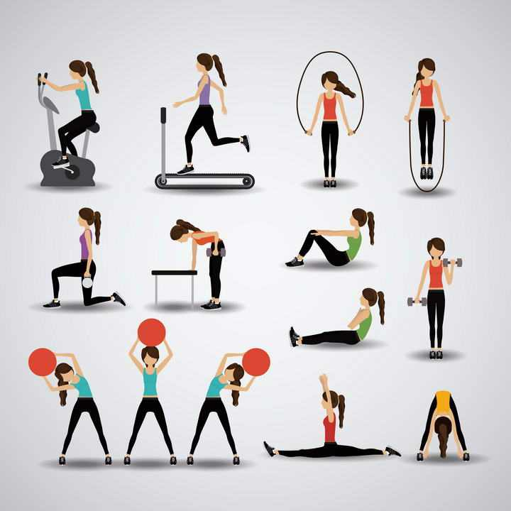 各种扁平化风格正在健身房锻炼的女孩免扣图片素材