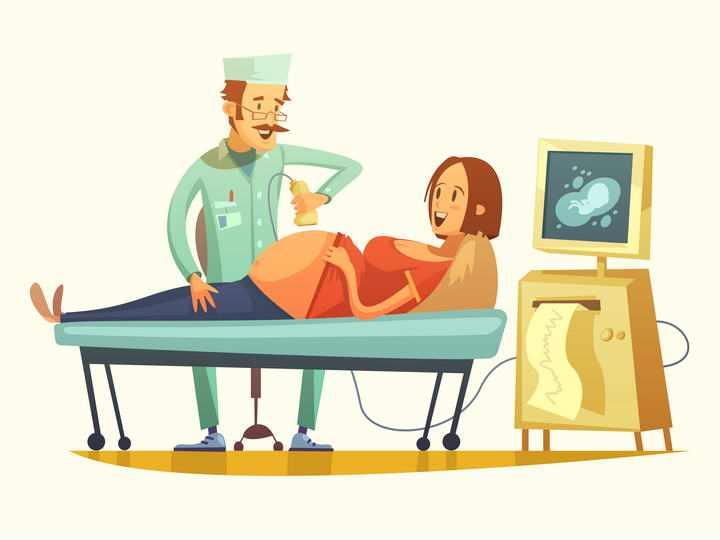 卡通插画漫画风格正在接受医生检查的孕妇免扣图片素材