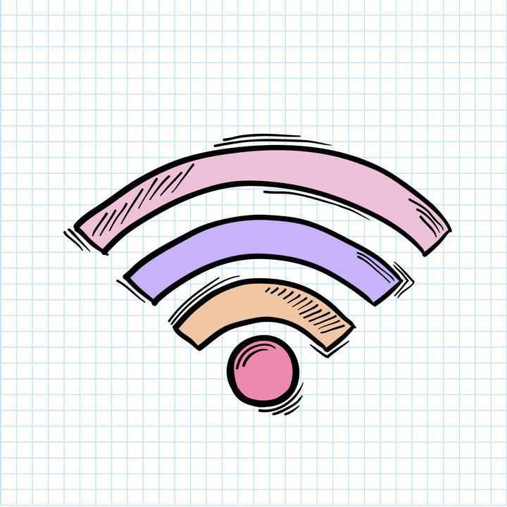 彩色手绘涂鸦风格WiFi信号符号免扣图片素材