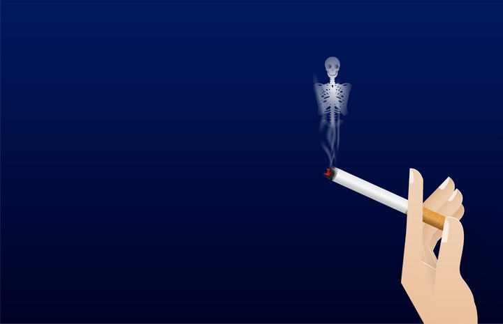创意抽烟香烟的骷髅形状的烟雾禁止吸烟图片免抠素材