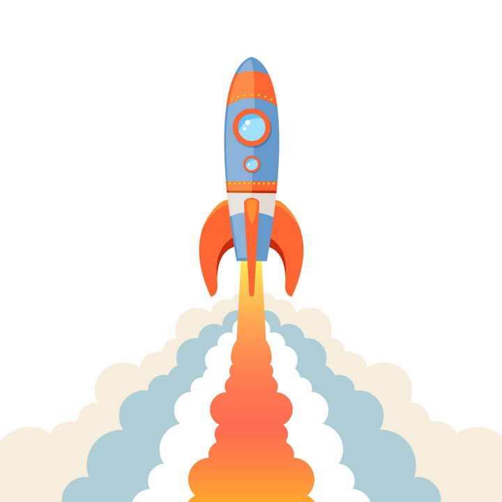 喷射出彩色烟雾的正在起飞的小火箭免扣图片素材