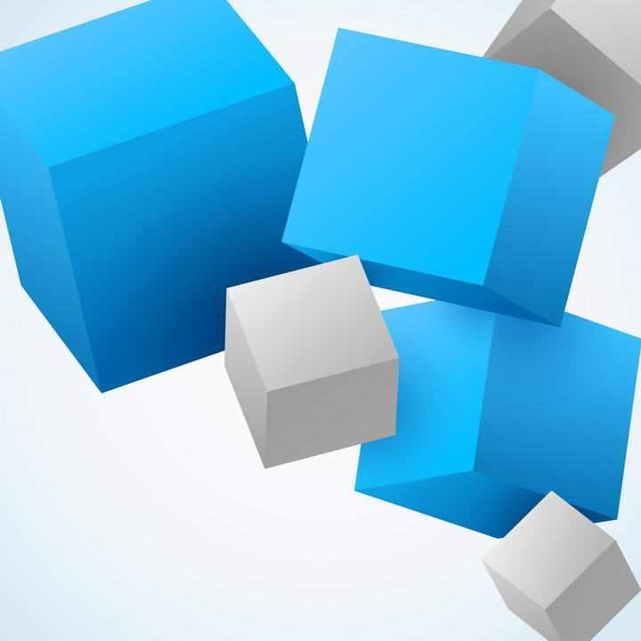 蓝色和灰色立方体装饰免扣图片素材