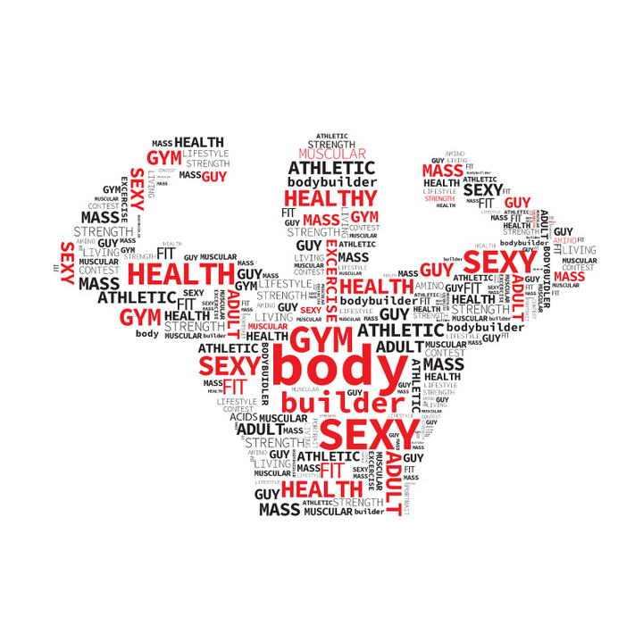 英文单词组成的聚合人体图案免扣图片素材