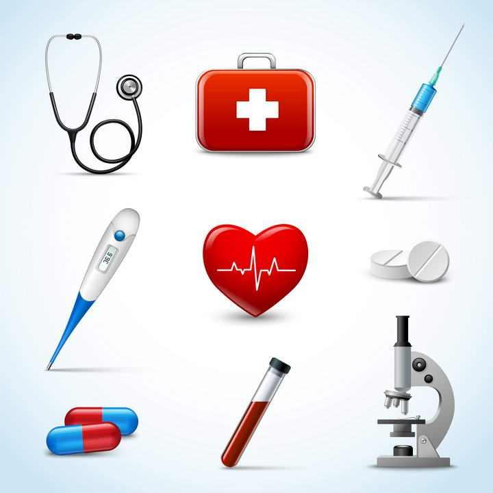 9款逼真的医疗医学用品听诊器医疗箱注射器温度计显微镜等免扣图片素材